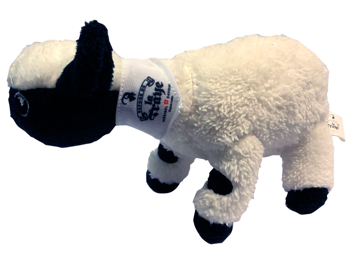 The black-nosed sheep of the Valais, mascot of the Refuge de la Traye